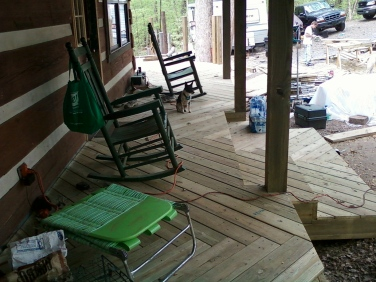 front porch deck herringbone decking pattern