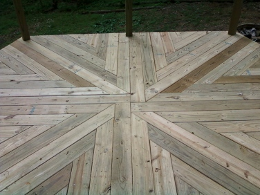 decking pattern underneath the hot tub
