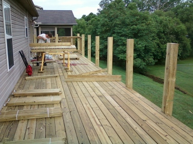 installing deck railing post