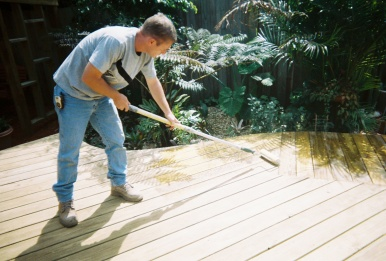 staining the deck