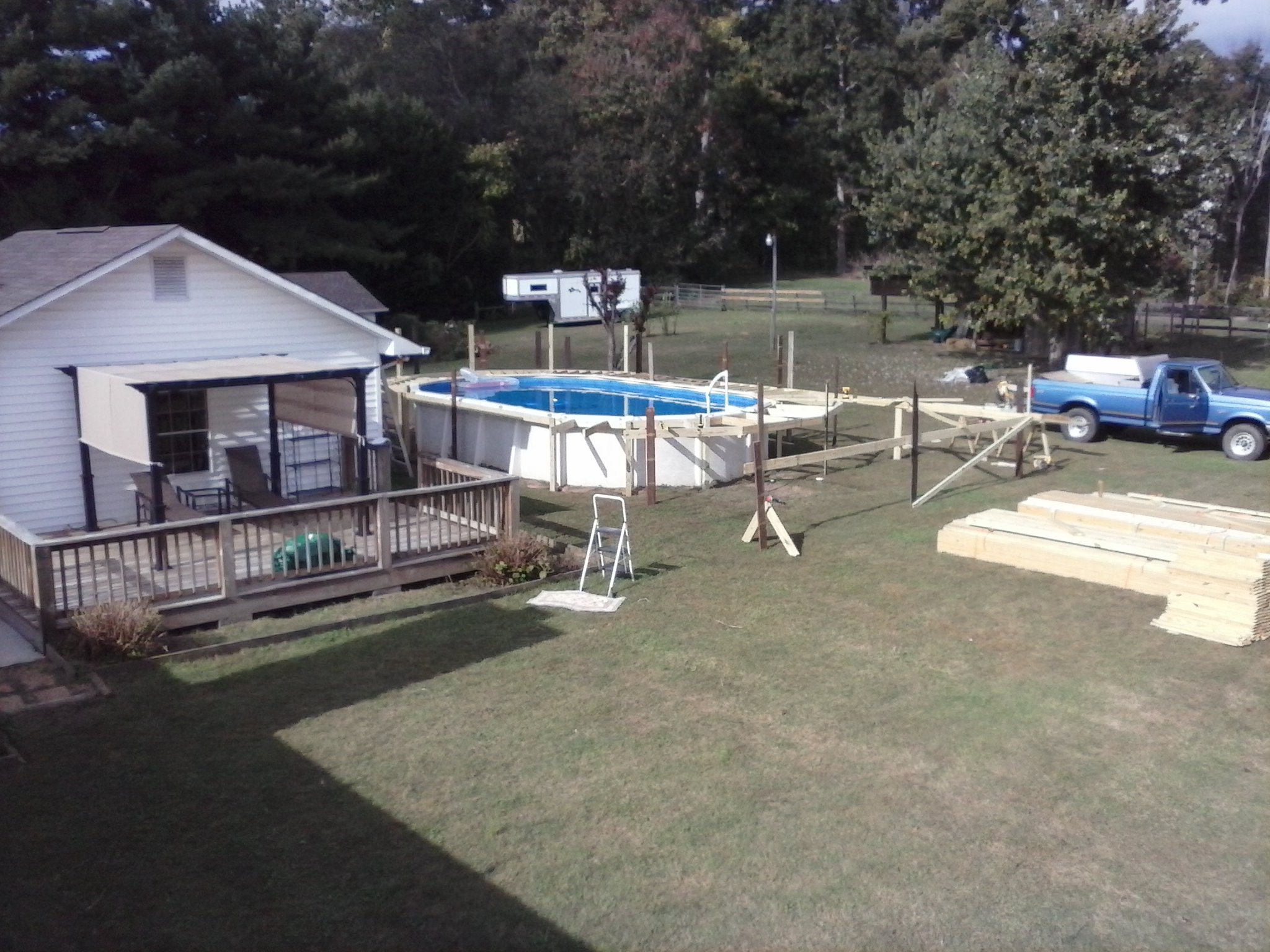 framing the deck around the pool