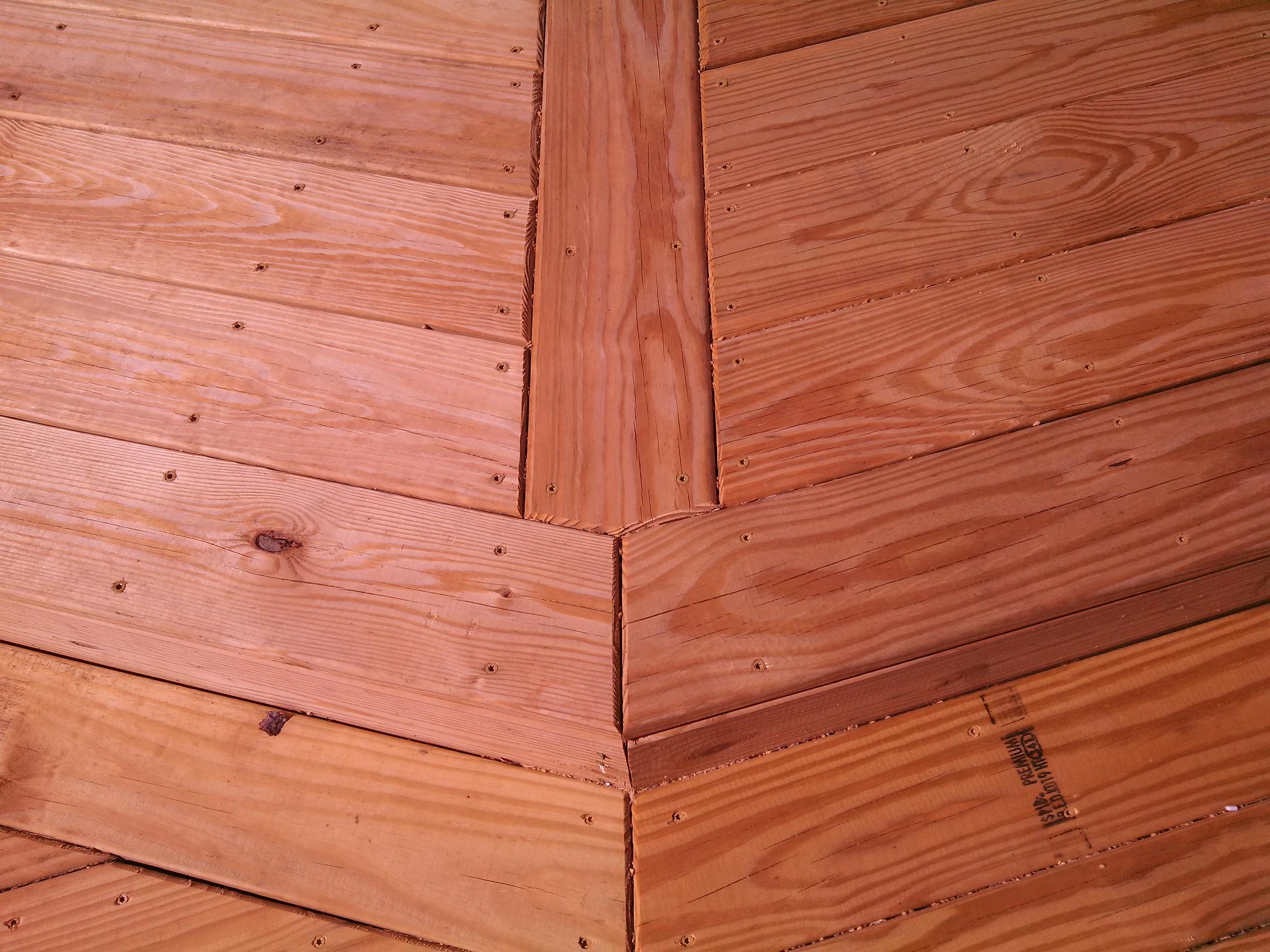 close up view of the decking