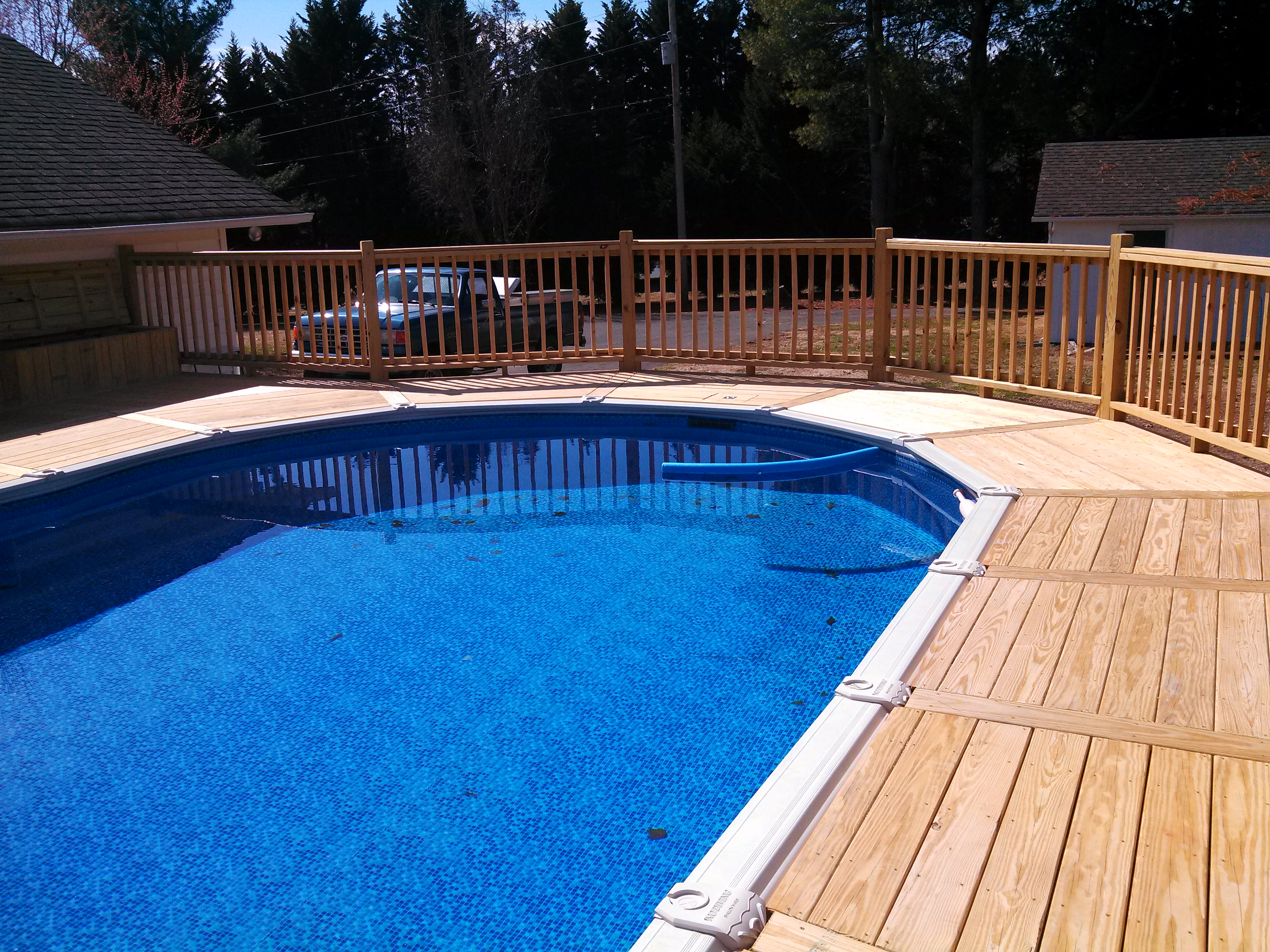 handrails and decking pattern around the swimming pool