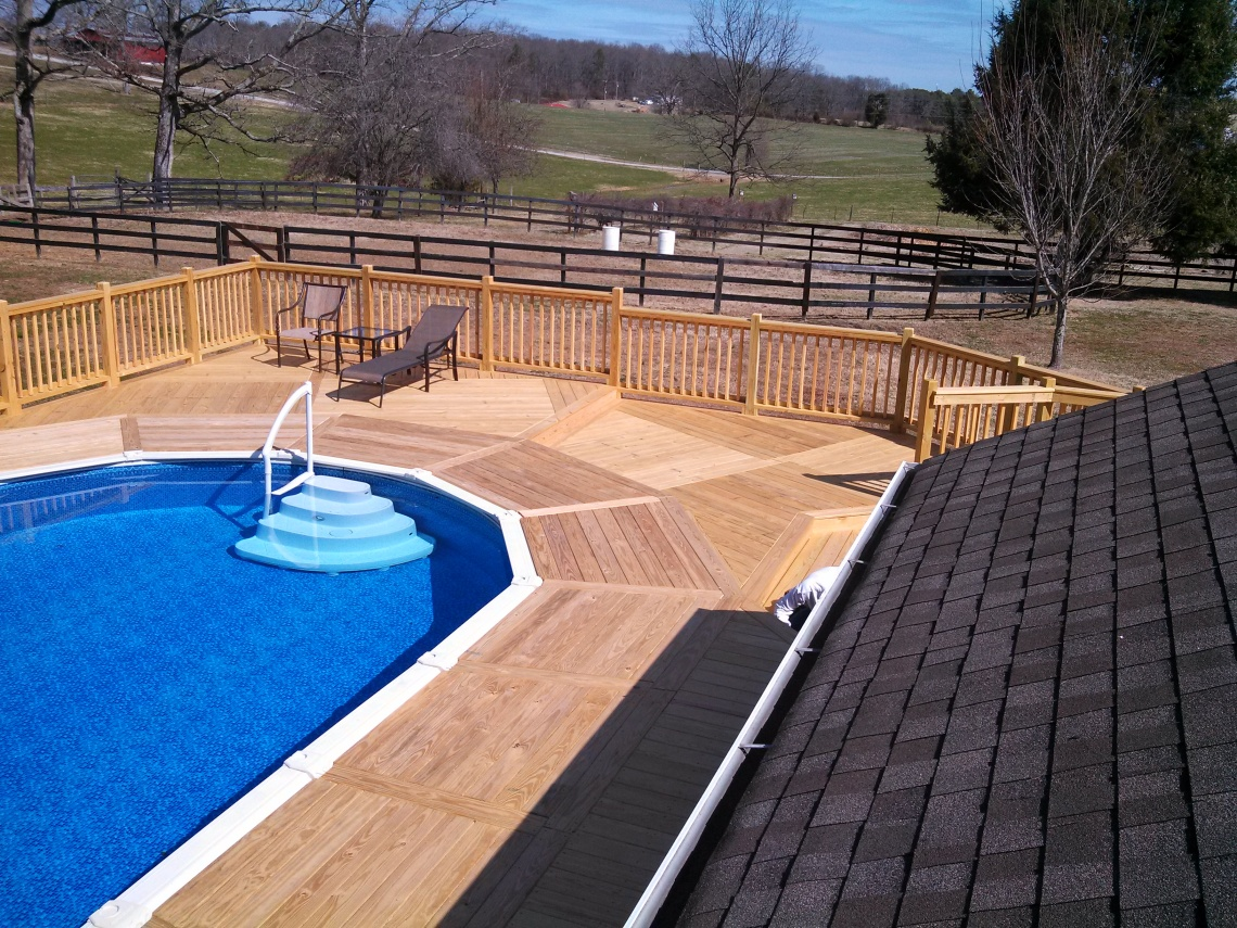a picture of the deck from the roof