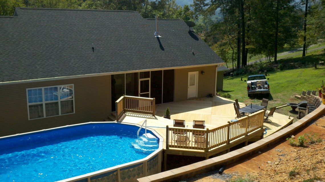 custom pool deck with basket weave decking patterns