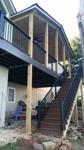 porch with trex decking and aluminum hand rails