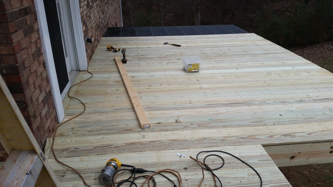 screen underneath the decking boards