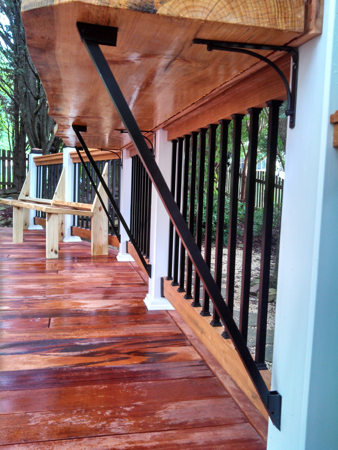 tigerwood deck bench and bar