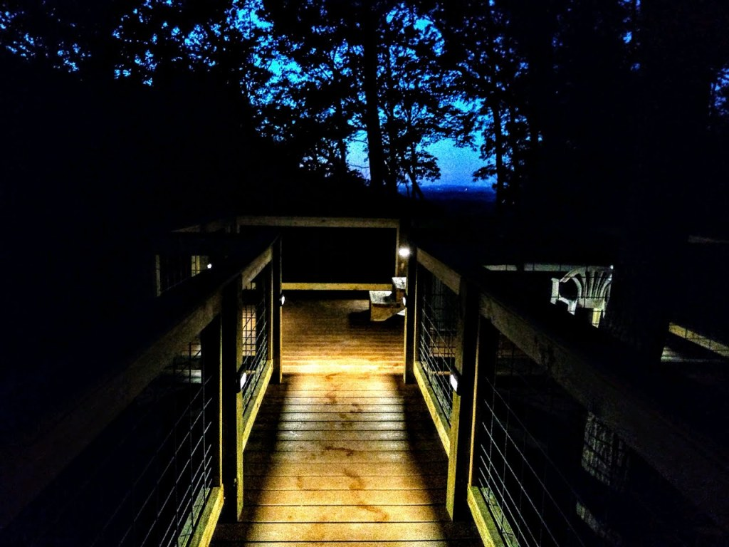 The deck at early dawn with the lights on