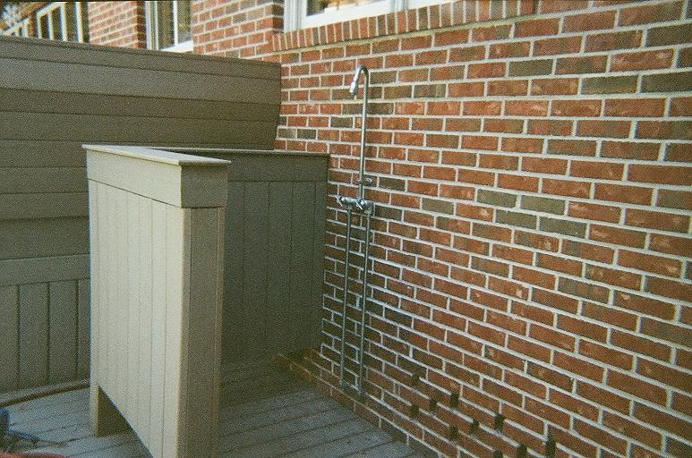 Outdoors shower made from composite decking