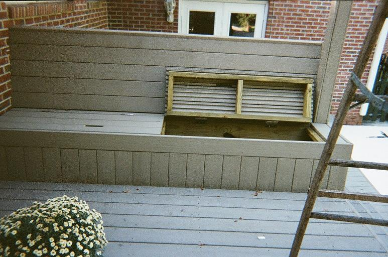 Deck bench with opening lids
