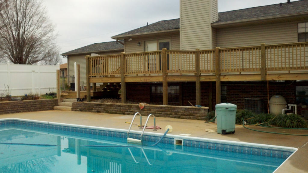 The left half of the completed pressure treated deck
