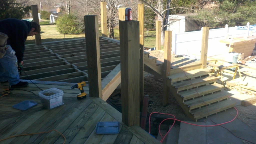 The steps before the decking is installed